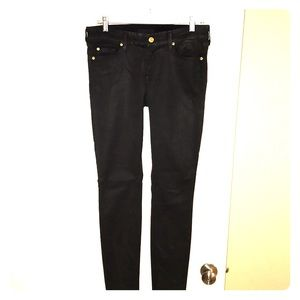 7 For All Mankind Black Waxed Jeans